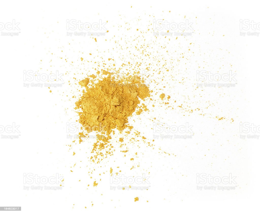 Gold eyeshadow powder isolated on white background stock photo