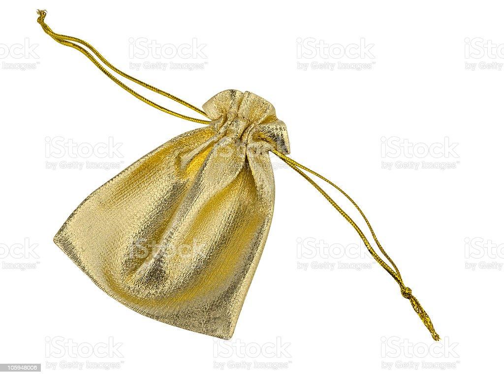 Oro bolsa de tela foto de stock libre de derechos