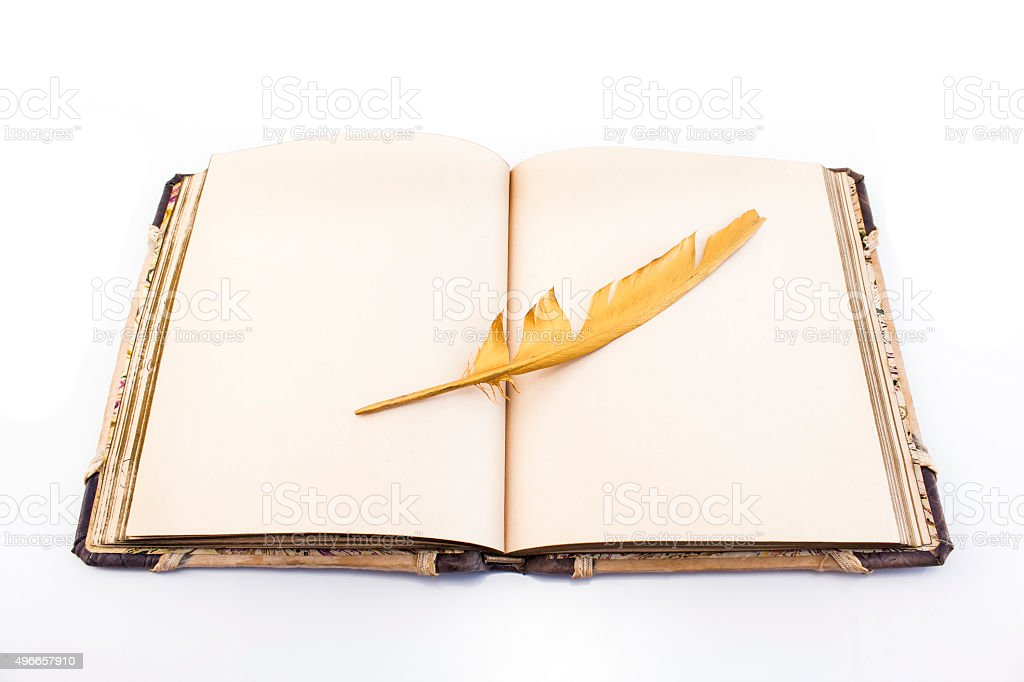 Gold feather and book isolated on white stock photo