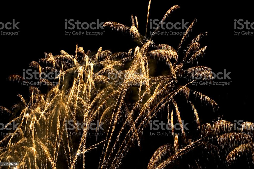 Gold fireworks like palm trees royalty-free stock photo