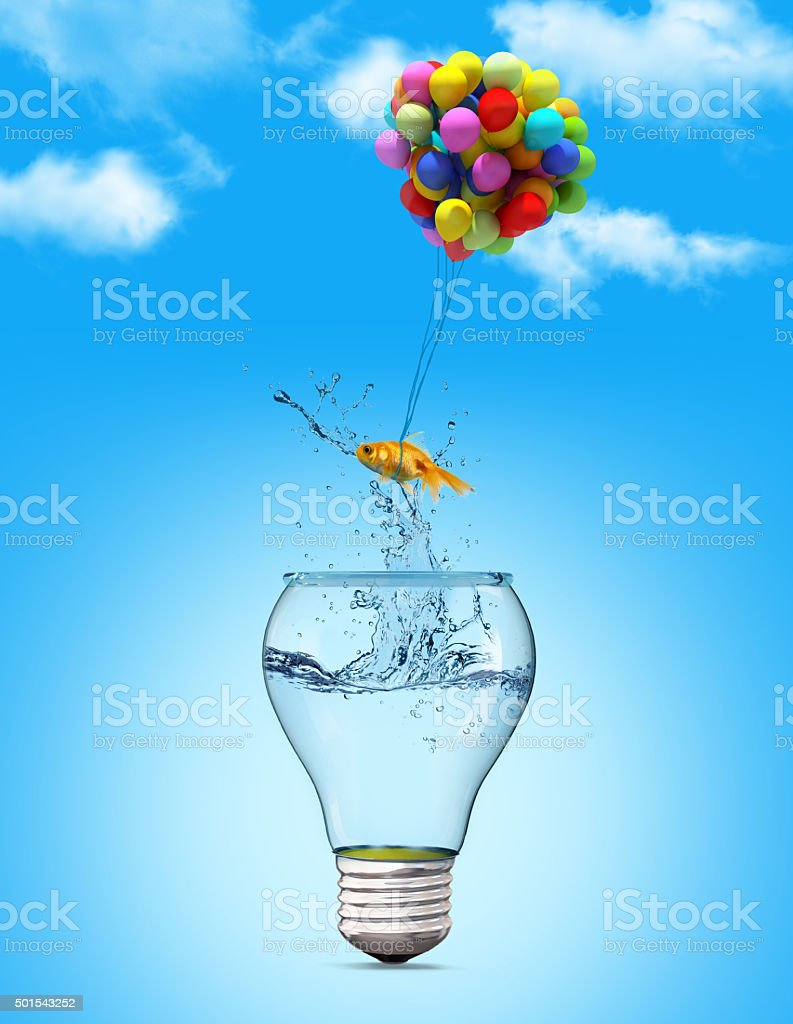 Gold fish flying away from stock photo