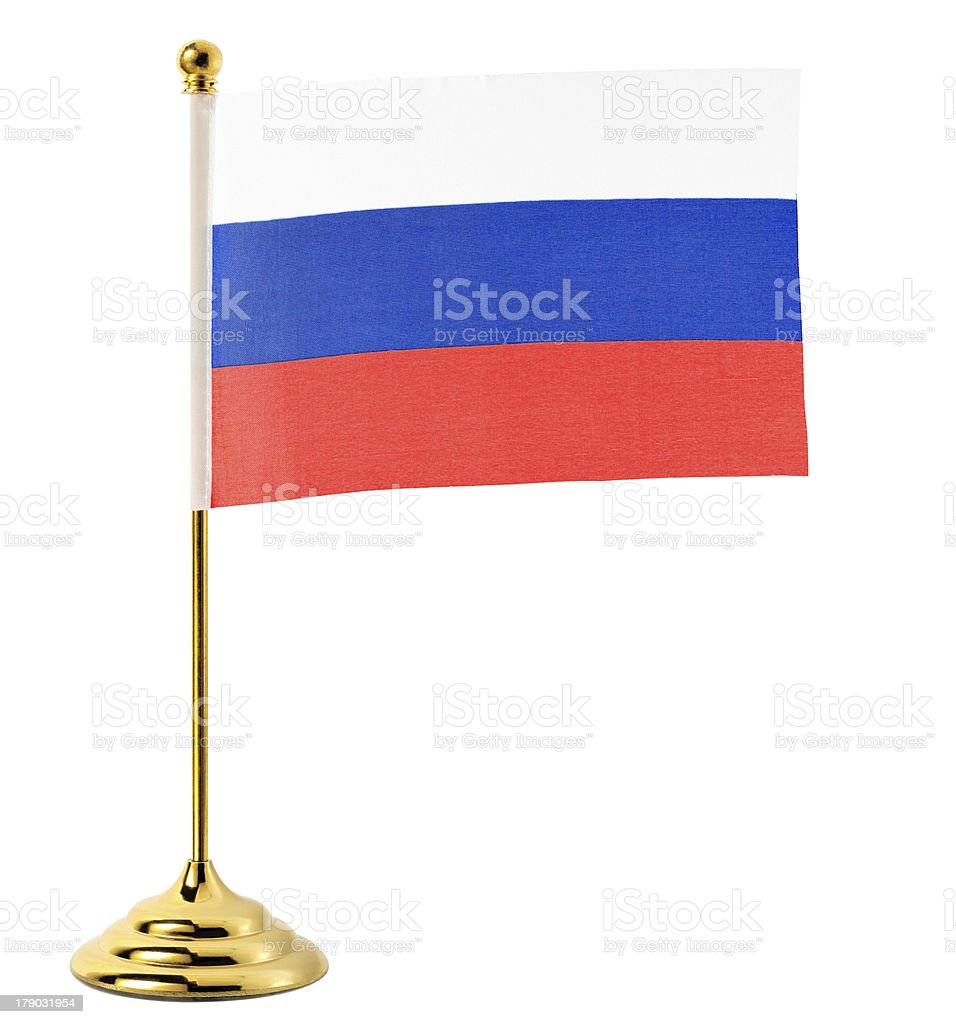 Gold flagpole hanging the flag of Russia royalty-free stock photo