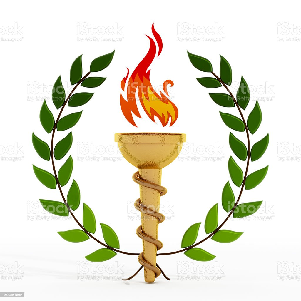 Gold flaming torch surrounded by green laurel leaves stock photo