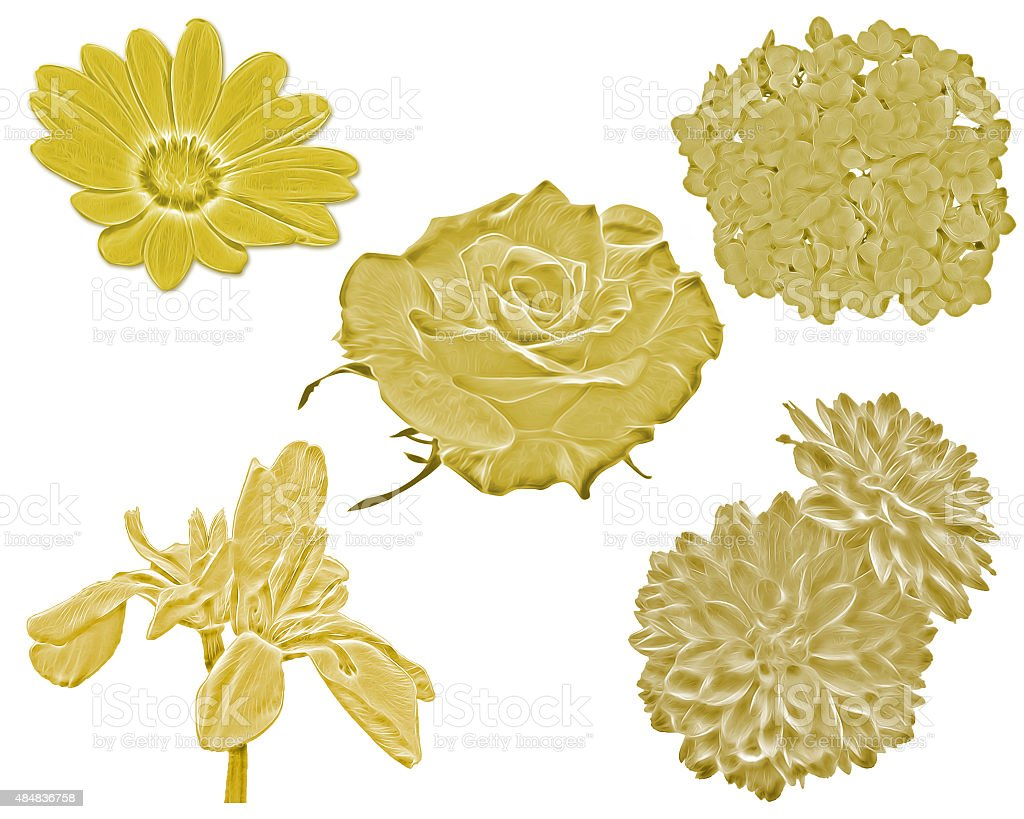 Gold Flowers stock photo