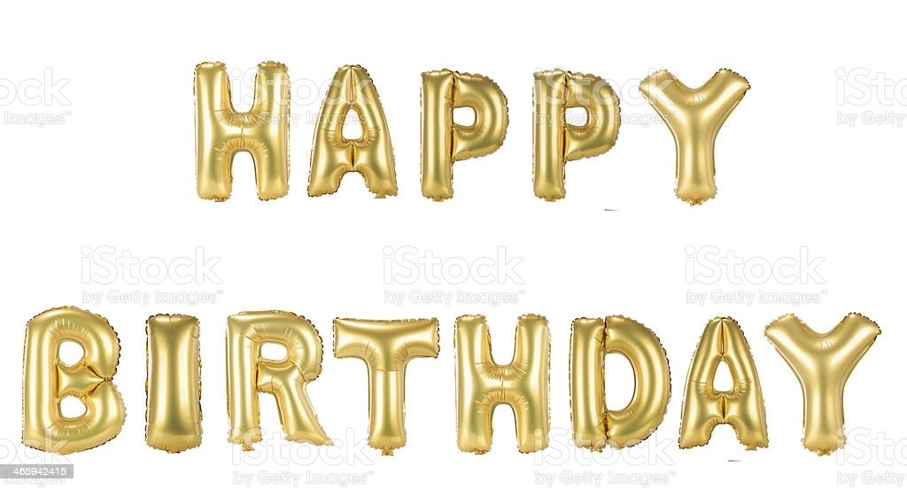 Gold foil Happy Birthday balloons on white background stock photo