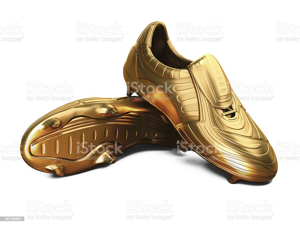 Gold Football Boots stock photo