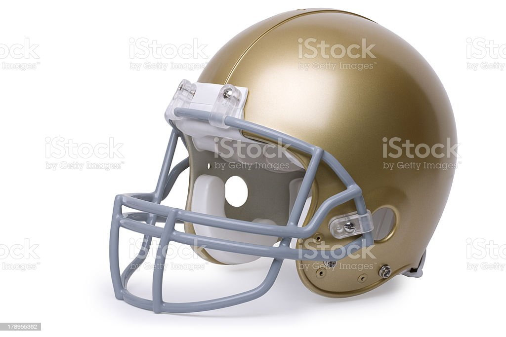 Gold football helmet at an angle stock photo