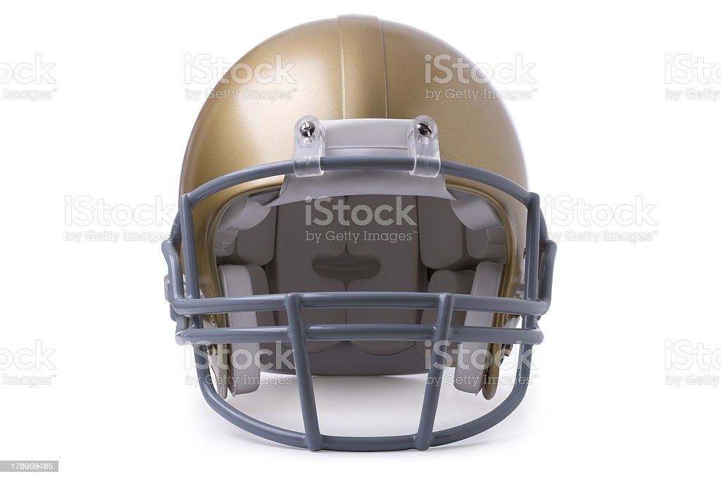 Gold football helmet isolated on white royalty-free stock photo