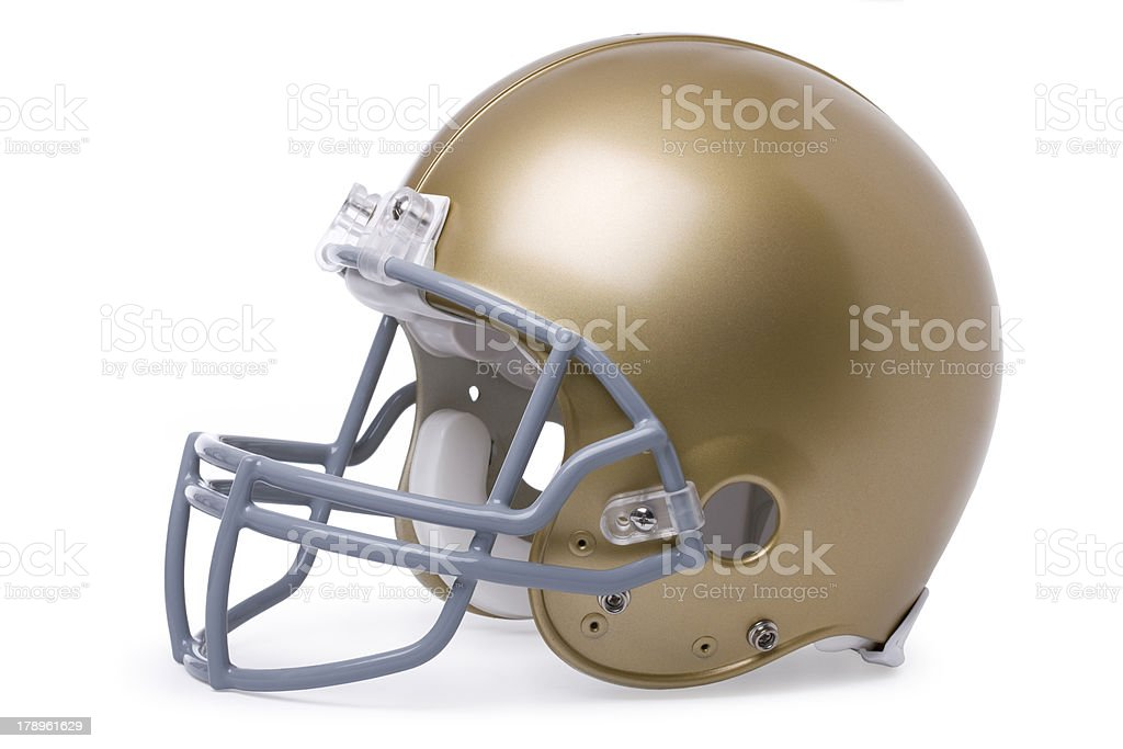 Gold football helmet isolated on white stock photo