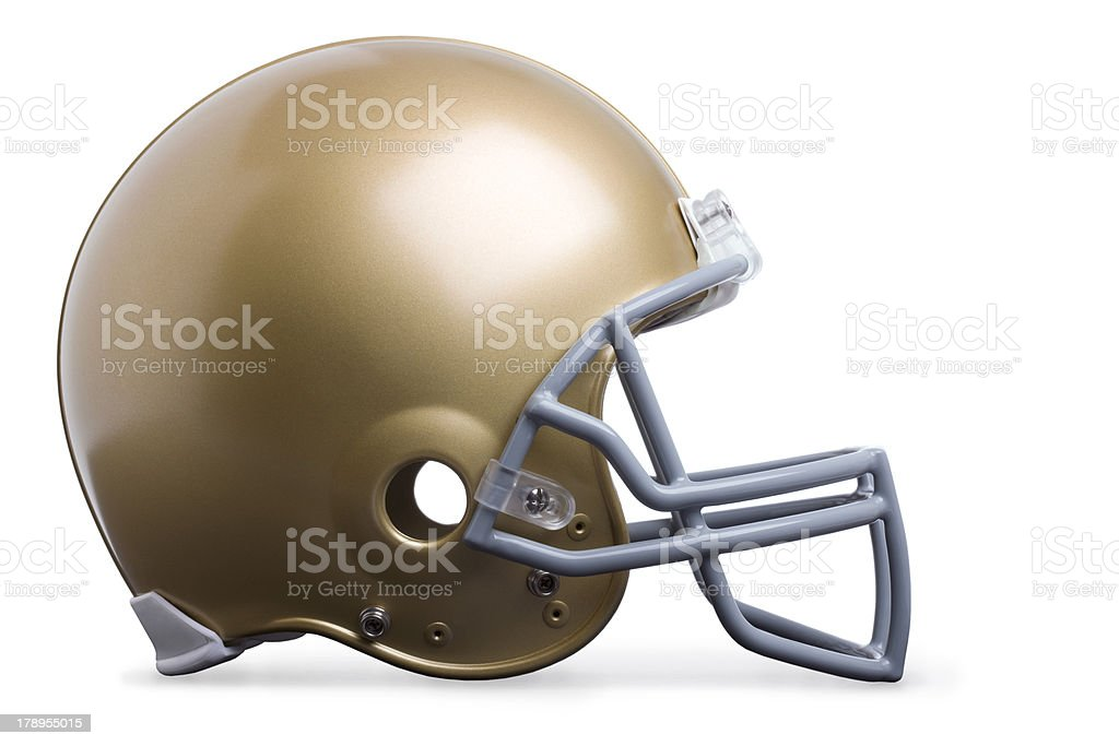 Gold football helmet isolated profile view stock photo
