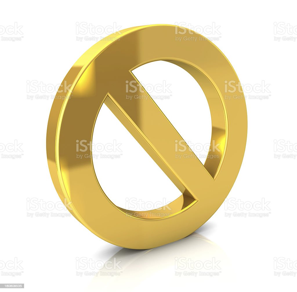 Gold Forbidden Sign stock photo