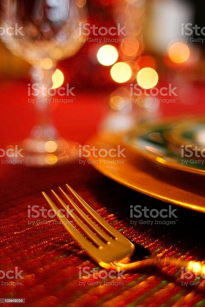 Gold Fork: Decorative Christmas Table Setting royalty-free stock photo