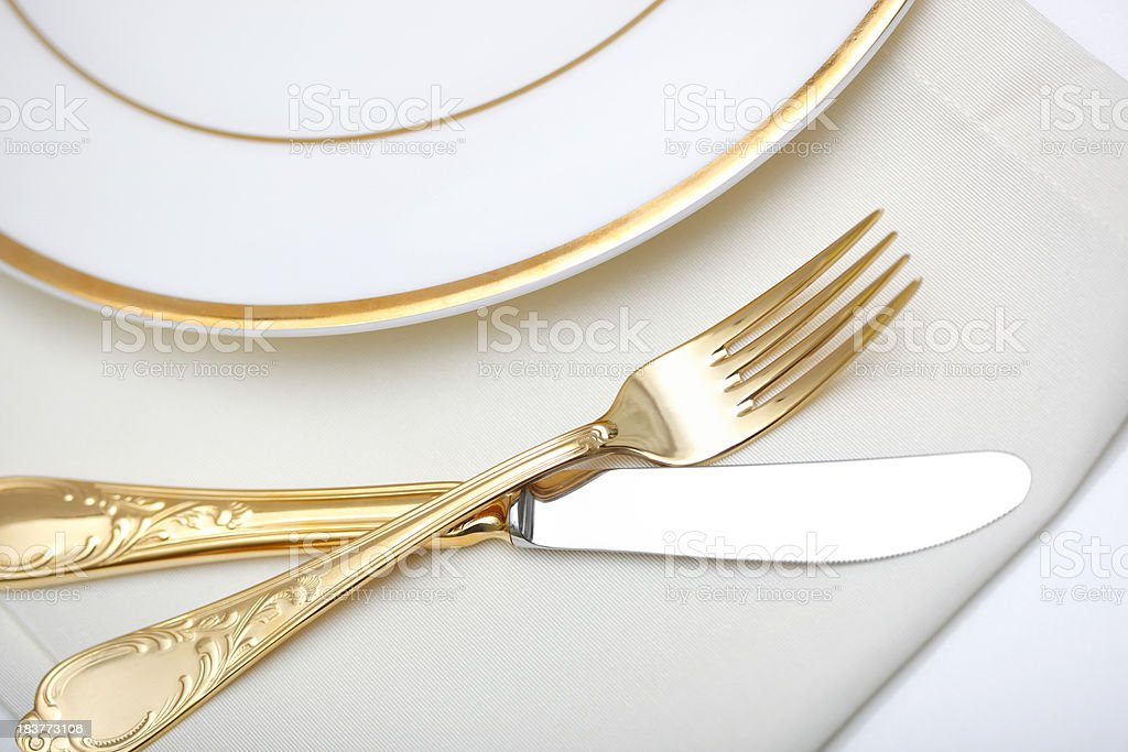 Gold Fork & Knife royalty-free stock photo