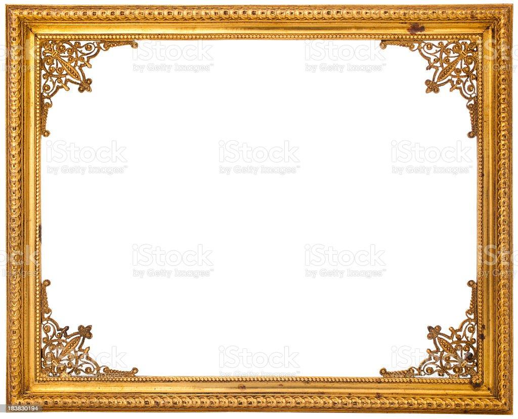 Gold frame isolated on white stock photo