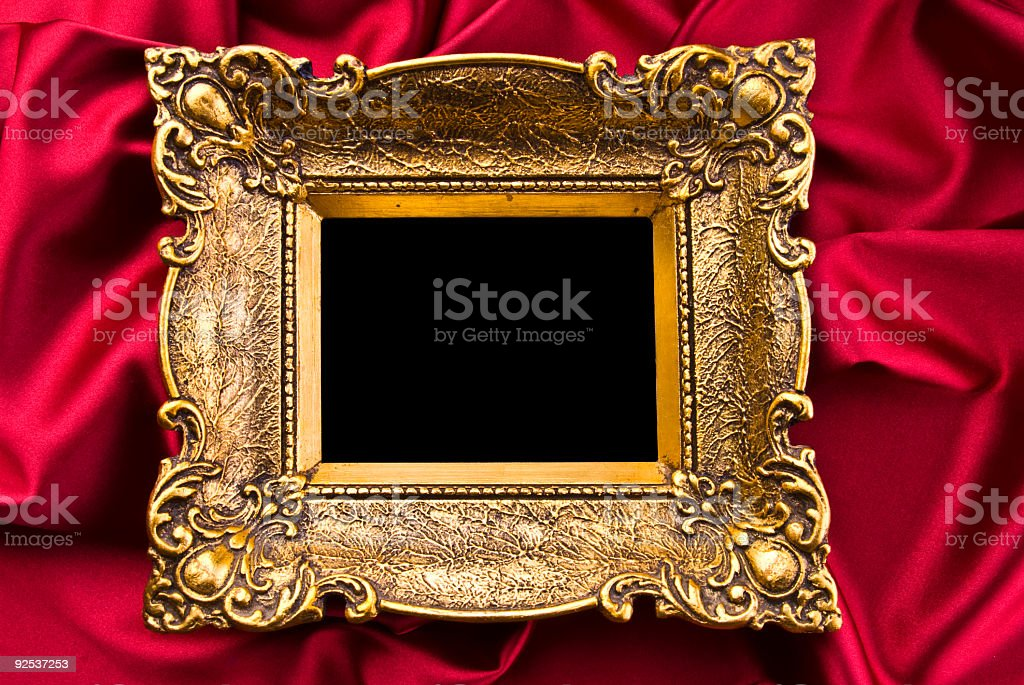 Gold Frame On Red Satin royalty-free stock photo