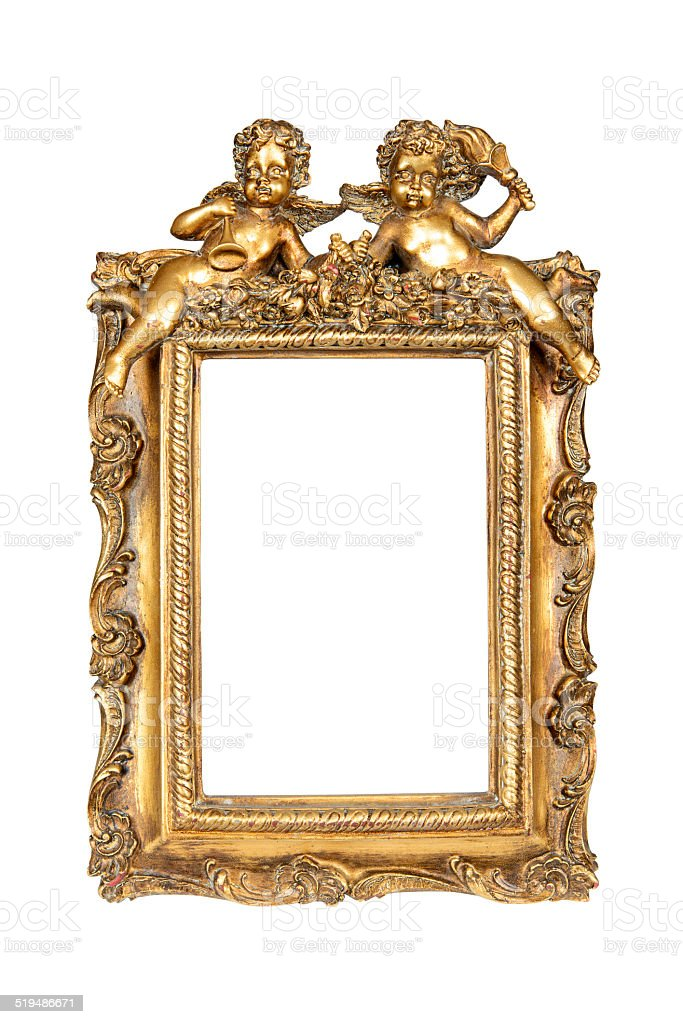 Gold frame with cupid stock photo