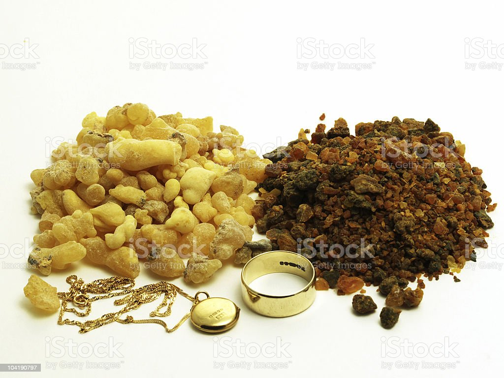 Gold, frankinsence and myrrh stock photo