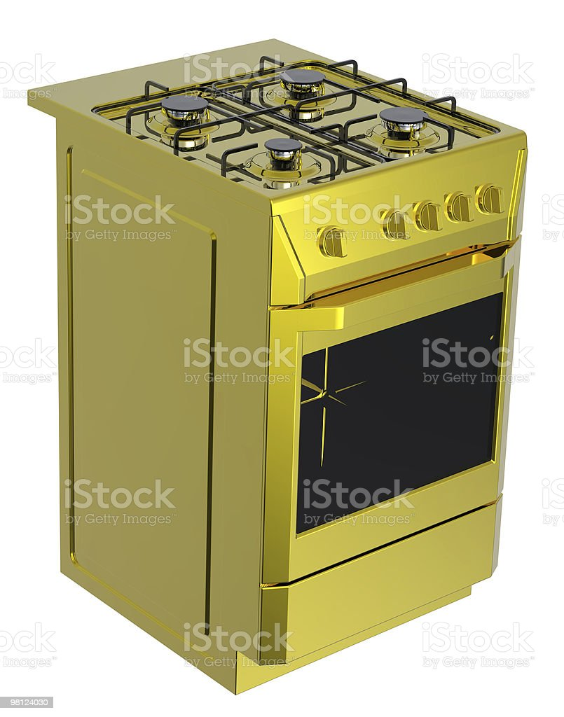 Gold free standing cooker royalty-free stock vector art