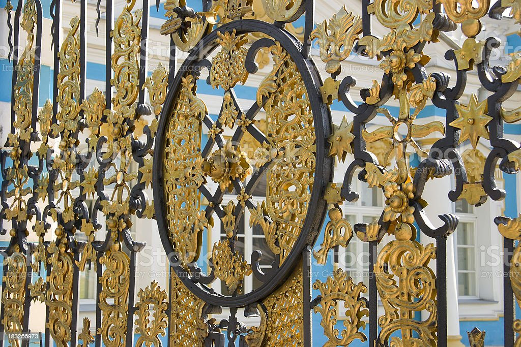 Gold Gate, Catherine Palace, St. Petersburg, Russia stock photo