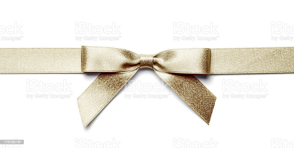 Gold Gift Bow and Ribbon Isolated with Clipping Path stock photo