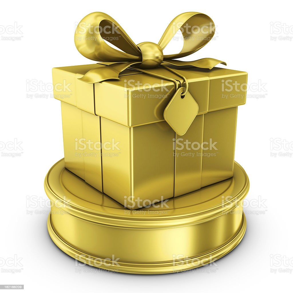 gold gift box award royalty-free stock photo