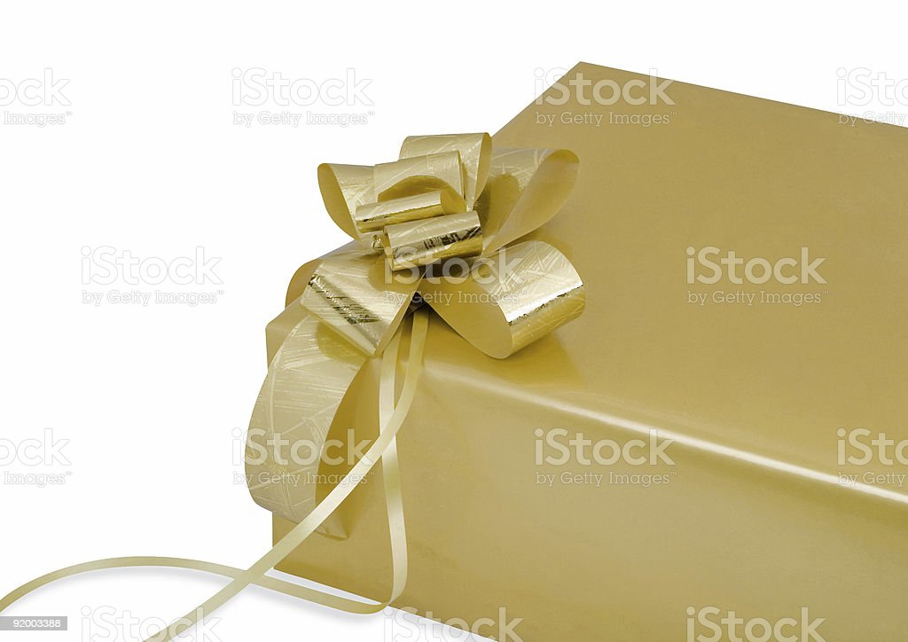Gold Gift Box White Background royalty-free stock photo
