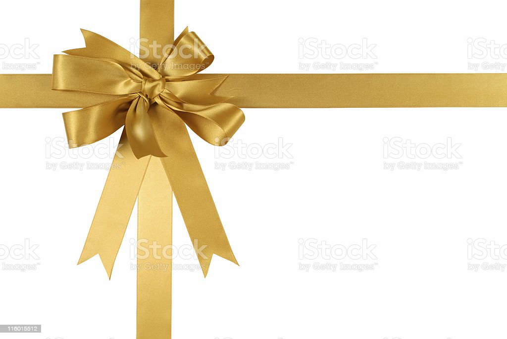 Gold gift ribbon and bow royalty-free stock photo