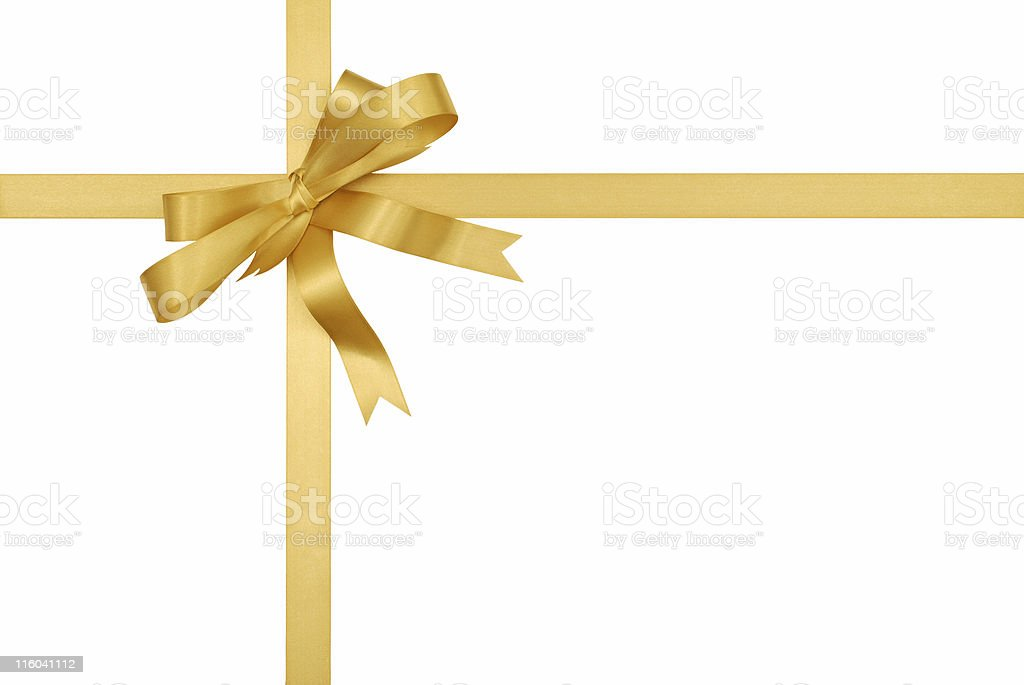 Gold gift ribbon and bow stock photo
