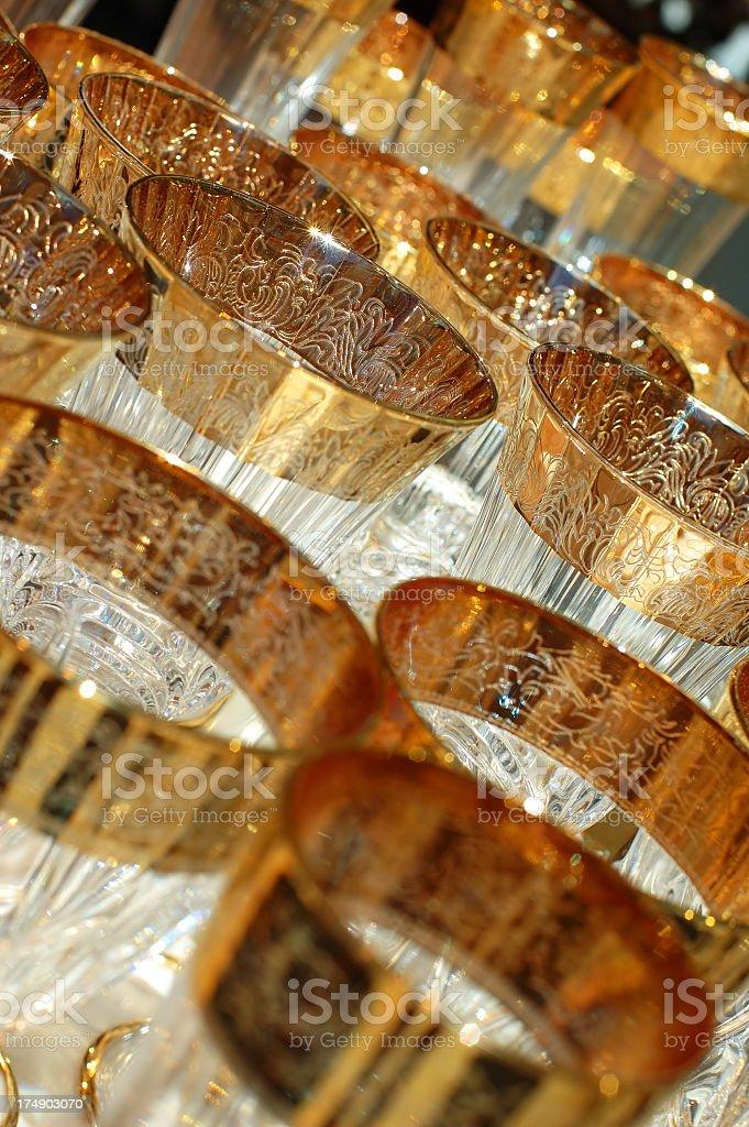 Gold glasses - 2 stock photo