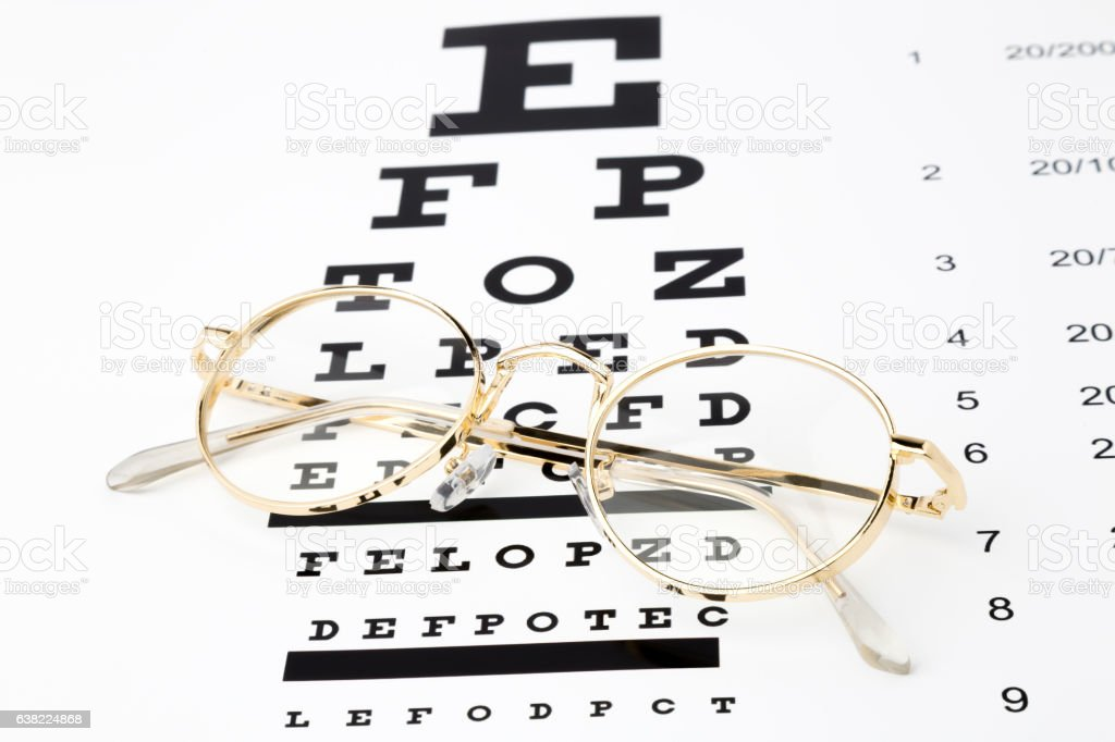 Gold Glasses with an eye chart snellen stock photo