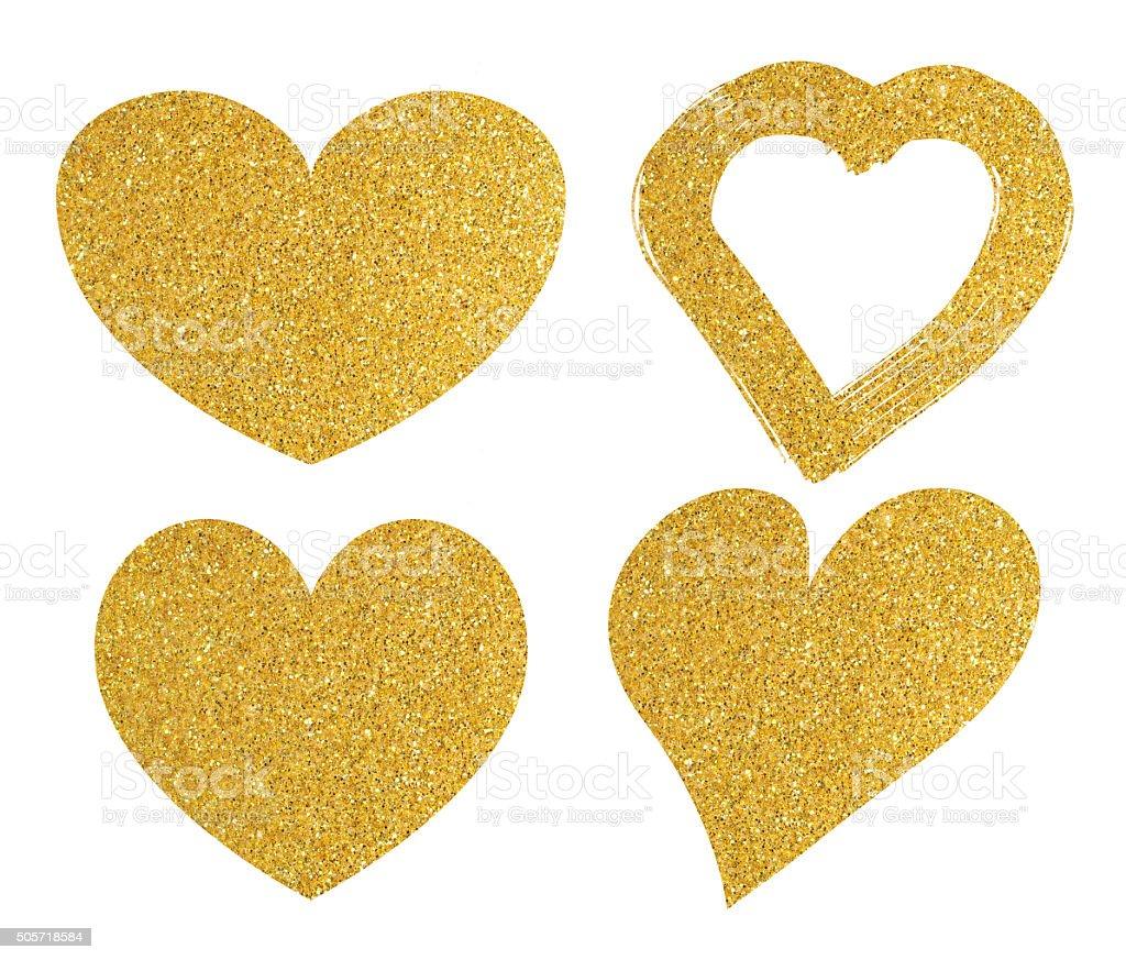 Gold gliter heart shape on white background stock photo