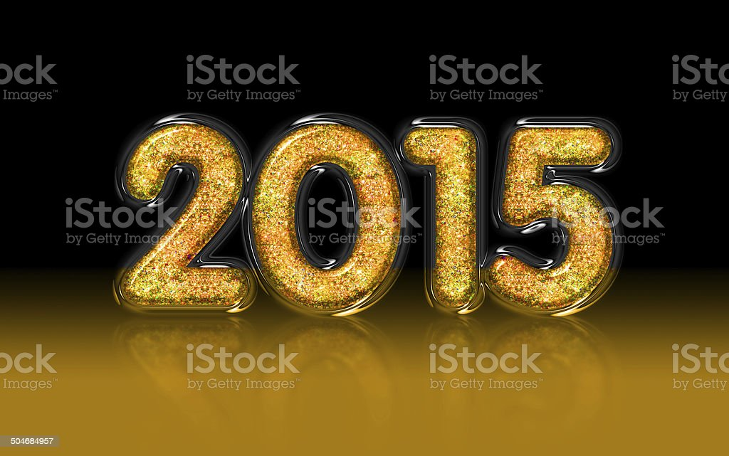 2015 gold glitter, glass, diamond effect royalty-free stock photo