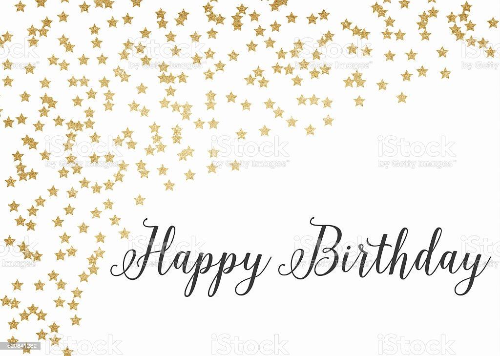 Gold glitter happy birthday background stock photo
