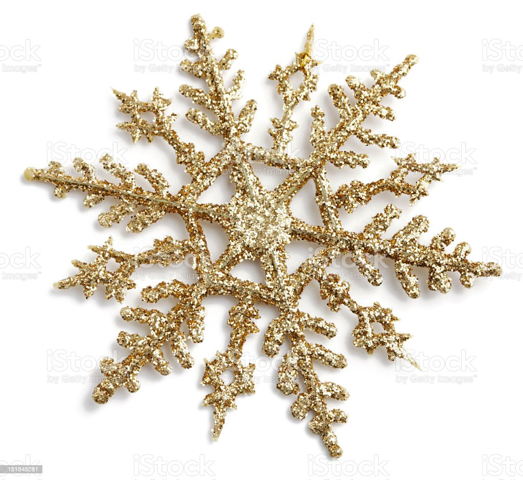 Gold Glitter Snowflake stock photo