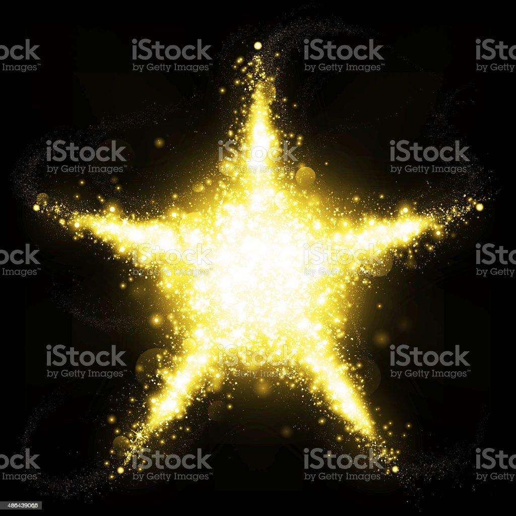 Gold glitter star of blinking stars stock photo