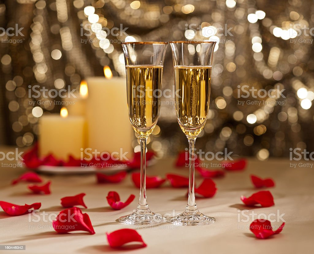Gold glitter Wedding reception setting with champagne royalty-free stock photo