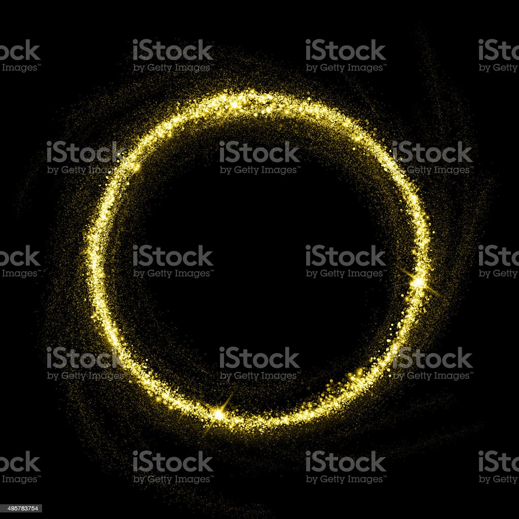 Gold glittering star dust circle stock photo