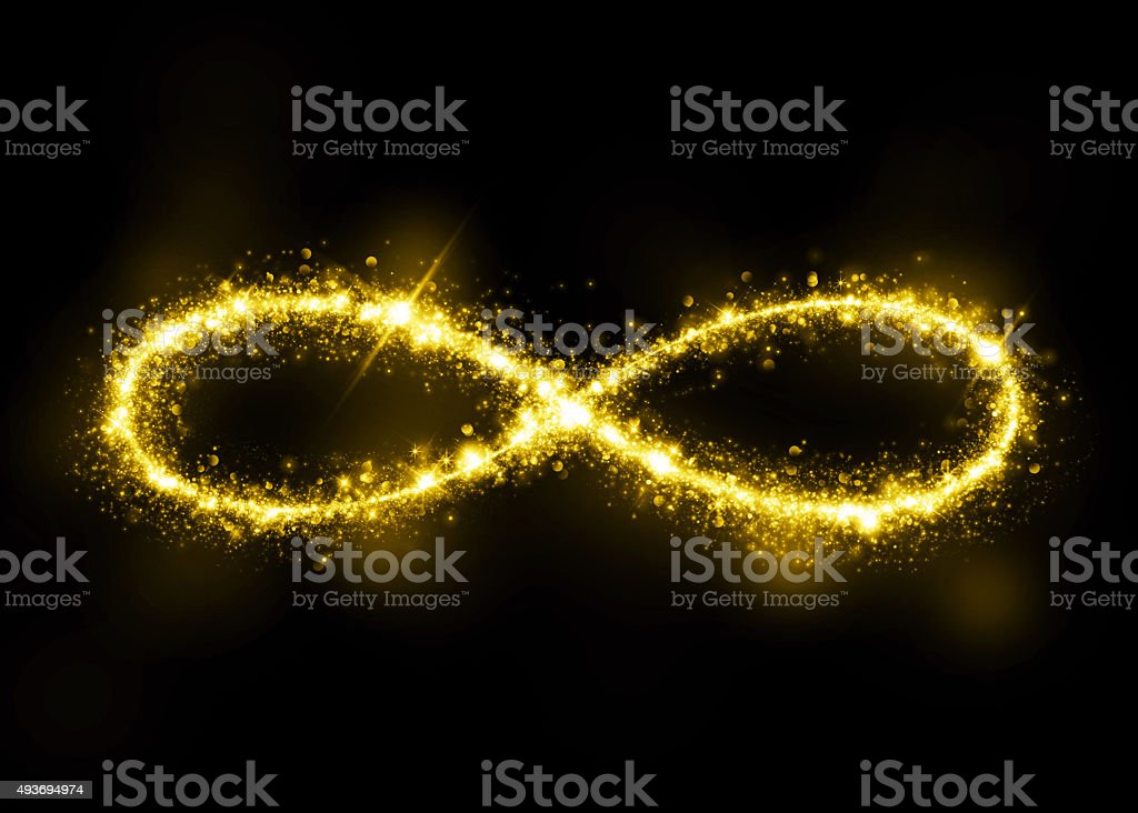 Gold glittering star dust infinity loop stock photo