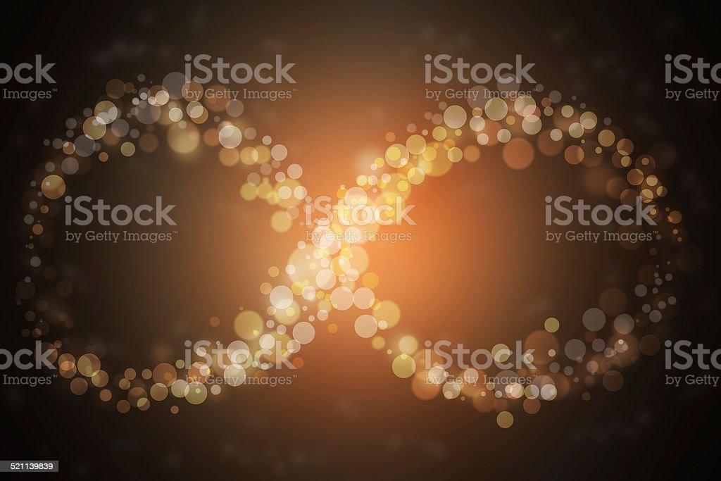Gold glittering star dust infinity loop. Twinkling ellipse. stock photo