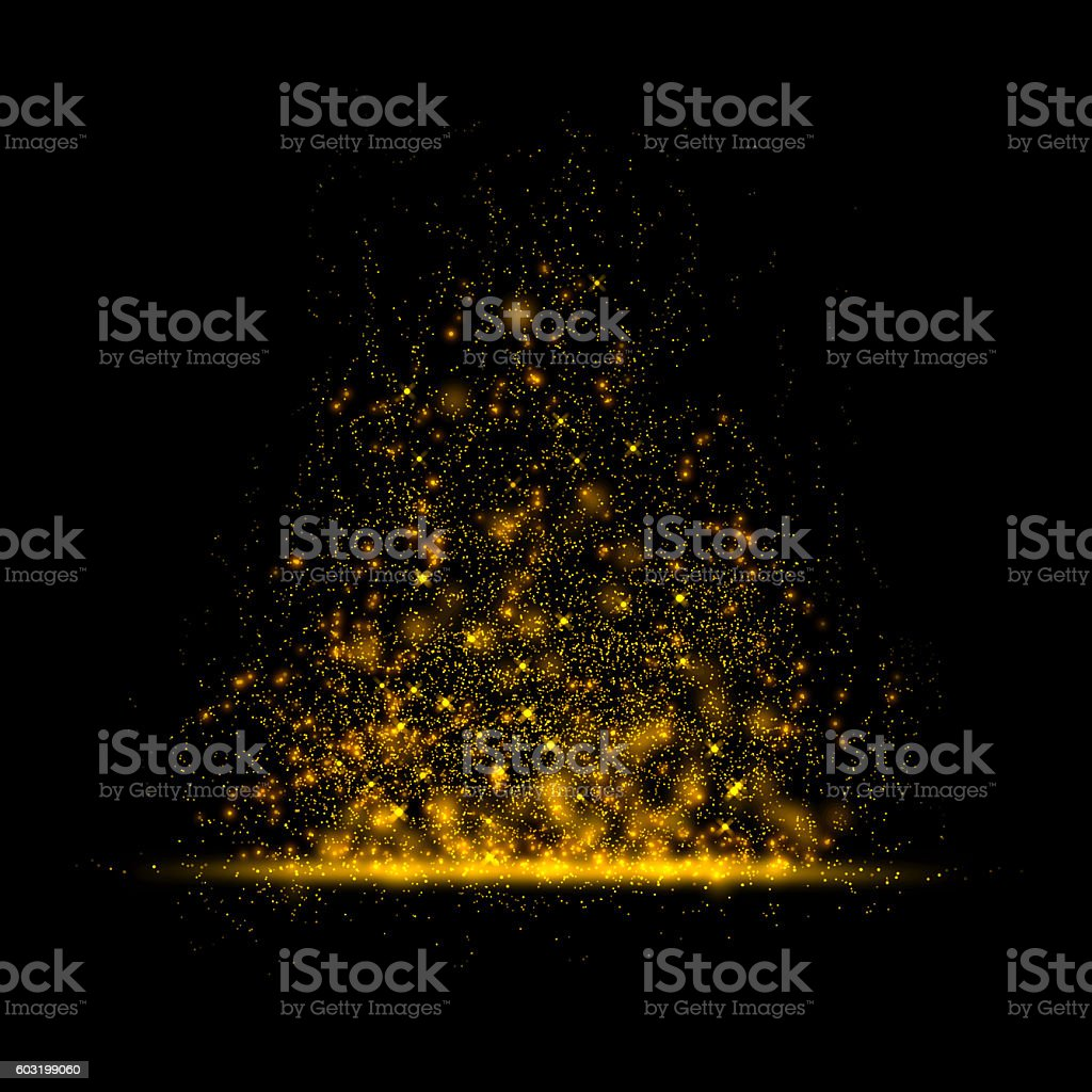 Gold glittering star magic dust on background.Particles for your stock photo
