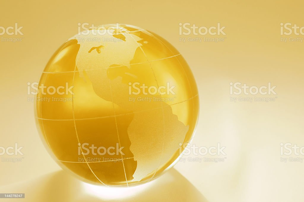 gold globe of north and south america royalty-free stock photo