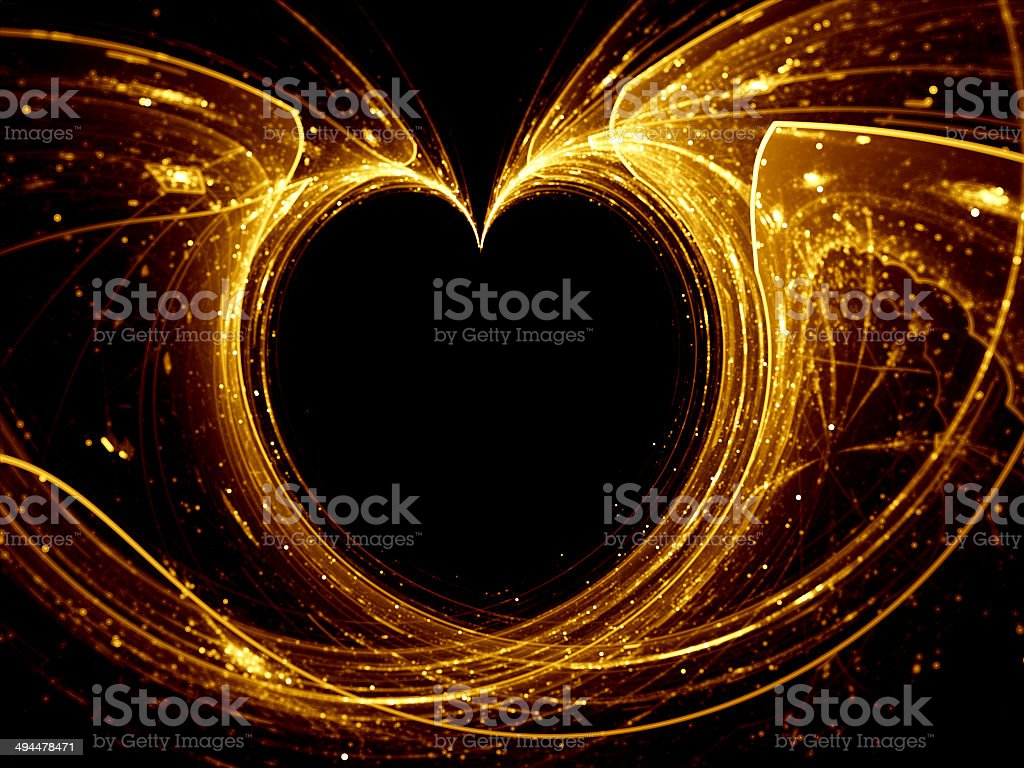 Gold glowing heart royalty-free stock vector art