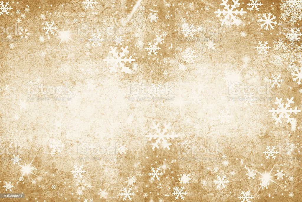 Gold grunge Illustration of a Winter Background with Snowflakes stock photo