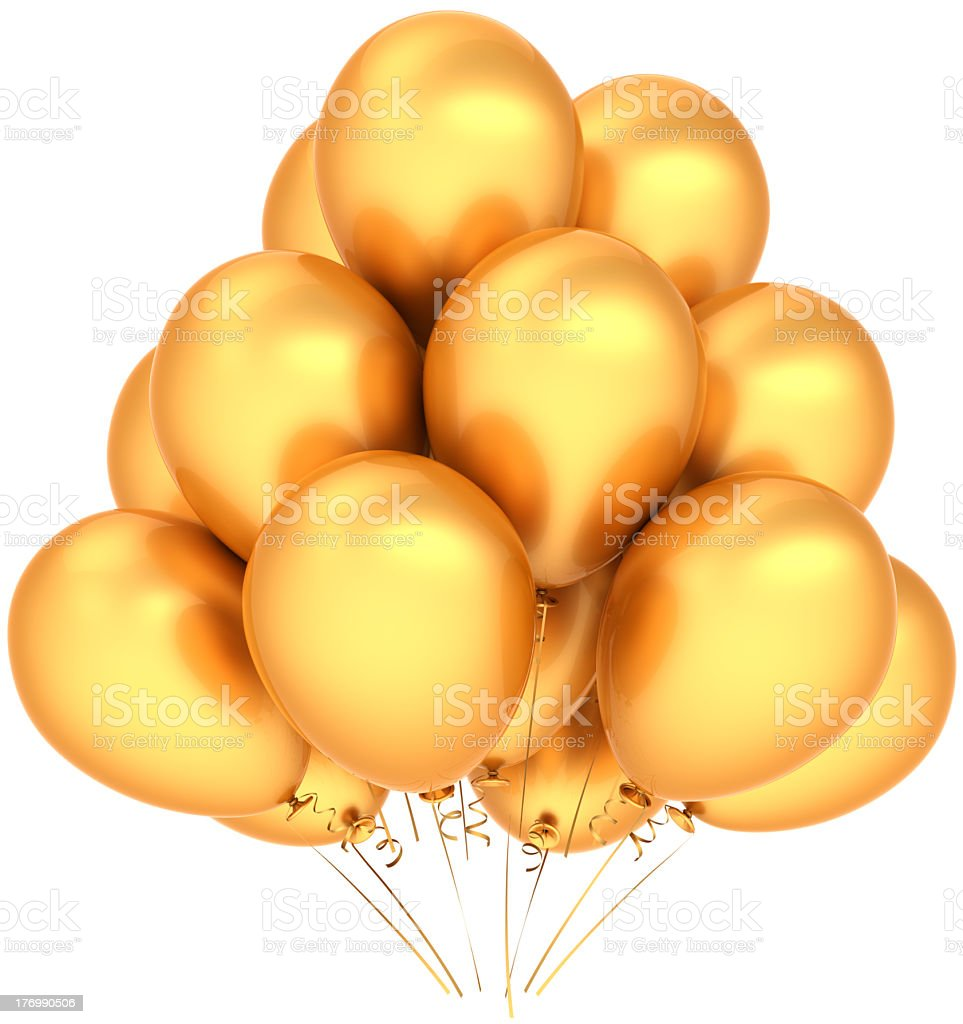 Gold happy birthday balloons party decoration classic royalty-free stock photo