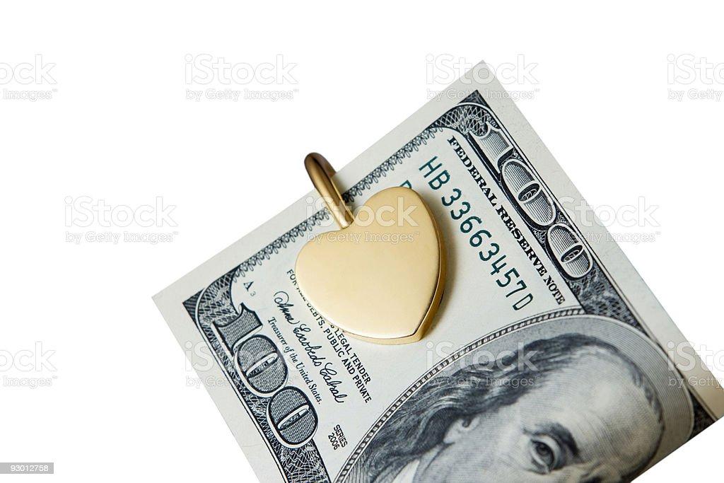 Gold Heart Cash stock photo