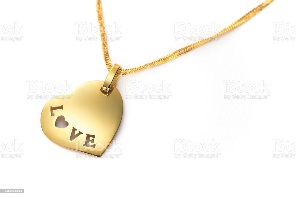 gold heart pendant Valentines Day royalty-free stock photo