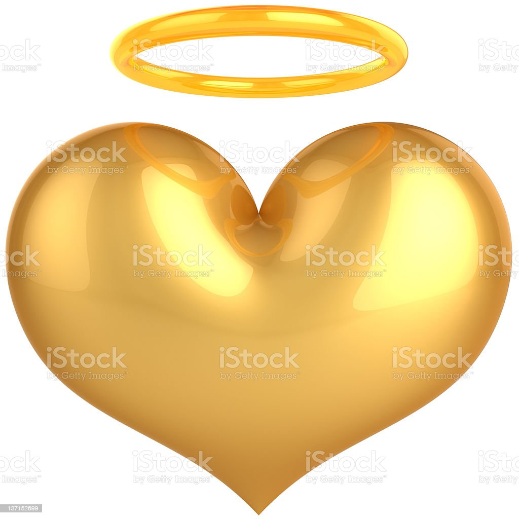Gold Heart shape with aura halo. Angel saint Love icon stock photo