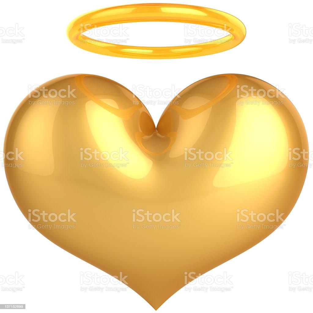 Gold Heart shape with aura halo. Angel saint Love icon stock photo