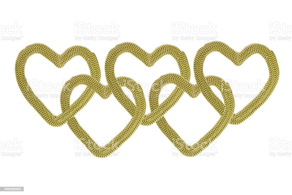 Gold hearts stock photo