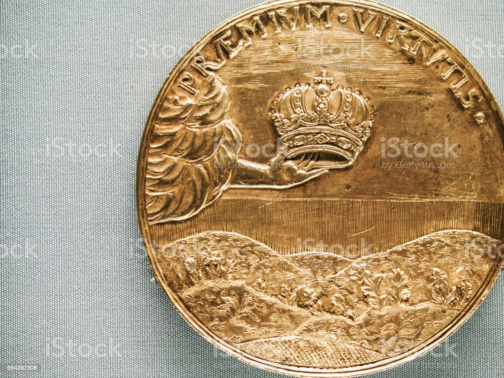 Gold Historic Collectable Russian Commemorative Coin stock photo